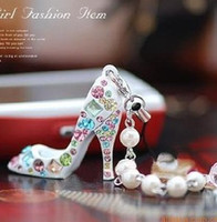 Wholesale Fashion creative Crystal Diamond sparkle High heels shoe phone chain Keychain Jewelry color