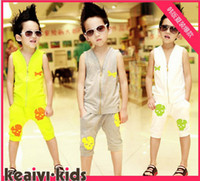 Boy 2-6 year Summer Summer Boys clothes 2013 Korean new style zipper skeleton head vest + Middle pants 2pcs baby sets children suit 3 colour 5 size 5 sets lot