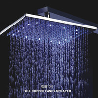 Wholesale 2014 different color shower inch square brass LED rain shower LED light LED shower head temperature control shower head B