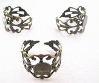 Cheap Free shipping Wholesale Adjustable black and bronze Ring Blanks,ring settings 8mm 20pieces lot