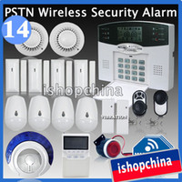 Wholesale Advanced LCD Zones PSTN Telephone Line Wireless Home Security Burglar Alarm System Fire ALARM Way low battery Remind iHome328M14