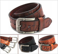 Wholesale 2014 European and American fashion men s cowboy imitation leather belts for mens hot selling Buckle Jeans For Cheap W066