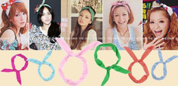 Free Shipping Candy Color Chiffon Rabbit Ear Headbands Hair bands Hair Ornament Accessories wholesale
