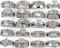 achat en gros de zircone anneau blanc-25pcs / lot de qualité supérieure blanc clair plaqué or pierres précieuses zircone cristal bijoux bagues strass Diamond Rings [CZ129 * 25]