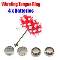 Tongue   Vibrating Tongue Bar Ring Koosh Ball + 4 Free Batteries for Body Jewelry Piercing BJA-009