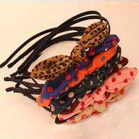 Headbands Rabbit Ear Headbands mix colors Free Shipping Korea Rabbit Bunny Ear Polka Dot Bowknot Hair Bands Head Wrap Hair Ornament Accessories Wholesale