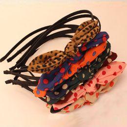 Free Shipping Korea Rabbit Bunny Ear Polka Dot Bowknot Hair Bands Head Wrap Hair Ornament Accessories Wholesale