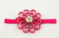 Wholesale princess girl Grosgrain Ribbon flowers headbands Girls party satin ribbon flower Princess hairband Hair Accessories