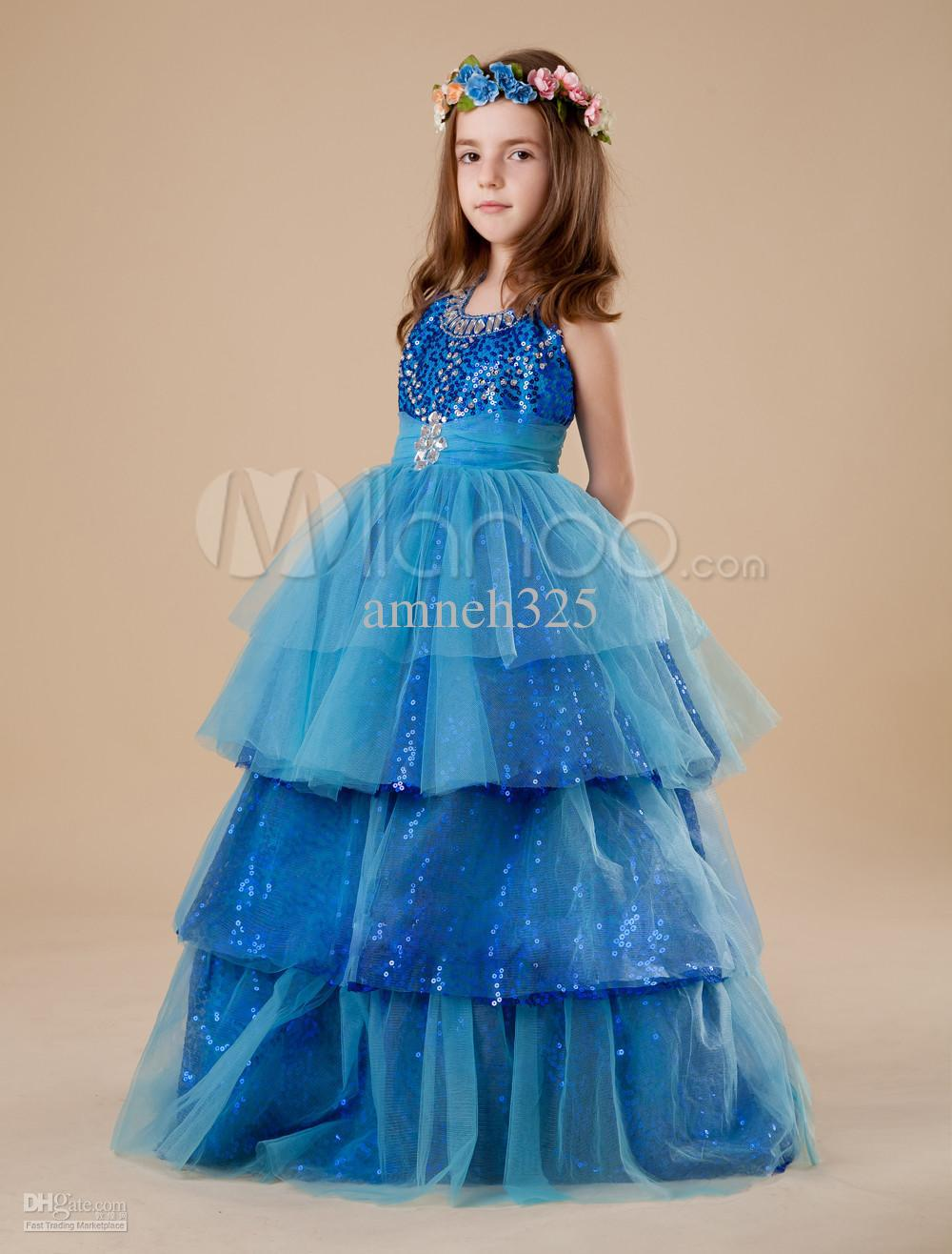 Pretty Blue Organza Halter Floor Length Little Girl's Dress Full ...