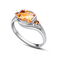 Natural crystal / semi-precious stones Citrine Size 15, Size 13, Size 12, Size 11, Size Collector Ms. Sterling Silver Natural Citrine Ring Korean version of the influx of people new fashio