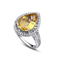 Natural crystal / semi-precious stones Citrine Customized size (please contact customer Natural citrine jewelry collector drop 925 sterling silver rings diamond jewelry lady temperament st