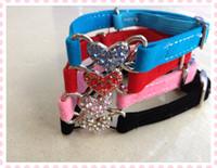 Wholesale Bling Heart velvet Cat Collar with Safety Elastic Belt Bell