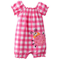 Wholesale baby romper new born rompers girls bodysuit jumpsuit shortalls babywear grid baby clothes shorts overalls toddler body suit W29