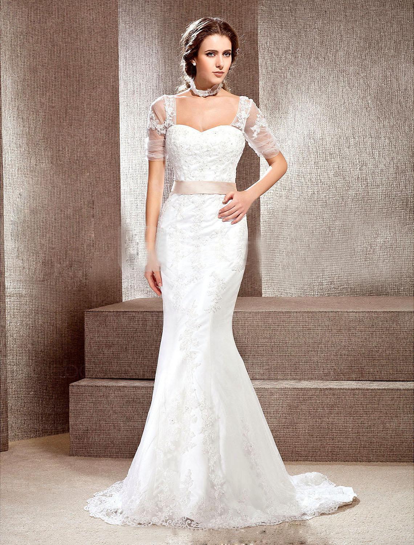 Dazzling short sleeves applique bridal dresses mermaid for Trumpet mermaid wedding dress with sleeves