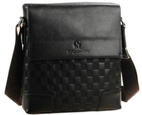 Wholesale 2013 Hot Fathers Day Mens Briefcases Leather Shoulder Dark Brown Check Letter Flap Top Bag TC
