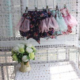 Wholesale baby girl kids pettiskirt tutu skirt cotton vintage flower floral short pants shorts legging bloomers pajamas PJ S layers fluffy costumes