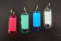acrylic luggage tags - 100pcs Blank Crystal Rectangle Keychains luggage tag Insert Photo Keyrings key card number