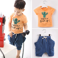 3-10Y Boy Summer 2013 Summer Boy's 2pcs Suits = Tshirt+Pants 5 Sizes 1 colors 3-10Y Cactus Outfits & Sets Outwear Female Clothes Tank Tops Shirts
