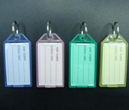 100Pcs Plastic Rectangle Keychains luggage tag key tags Insert Photo Keyrings key card number-Free Shipping