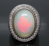 South American Women's Engagement Solid 18Kt White Gold Natural Colorful Opal & VS Full Cut Diamond Wedding Engagement Ring