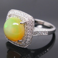 South American Women's Engagement Solid 14Kt White Gold Natural Colorful Opal & VS Full Cut Diamond Wedding Engagement Ring