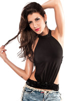 Wholesale Black Sequin Sleeveless Polyester Womens Club Top u5 FR8