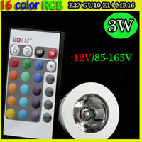 mr16 3w - spotlights RGB led bulb GU10 E27 E14 MR16 W V V V RGB Color Changeable LED Light Bulb lamp Wireless Remote Contrel