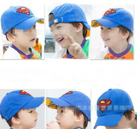 Wholesale 2013 new style baby kids boy s superman cap hat Children s Caps Hats blue dark blue