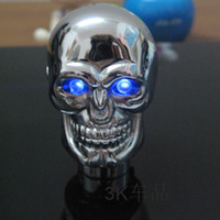 Wholesale Led skull shift knob metal material general manual gear head personalized lamp refit