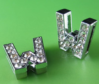 "Wholesale Silicone Slide Letters - 20PCS ""W"" Full Rhinestone 10MM Slide Letters SL049 Fit DIY Wristbnad   Bracelet LSSL02-W*20"