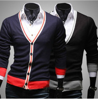 Wholesale Holiday Selling Color Ribbon Cardigan Knitwear Cashmere Male Slim Comfortable Sweater Men Sweatshirts Q06