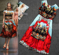 Wholesale 2013 New Designer Vintage Women Baroque National Trend Obviousness Cartoon Silk Slim Waist One piece Dress B0173