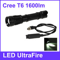Wholesale Cree XM L T6 LED UltraFire Zoom LED Flashlight with Remote Control Switch x AAA Battery LM