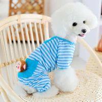 Wholesale Yellow Blue Color Stripes Cute Pet Pajamas Jumpsuits Dog Clothes Pet Apparel