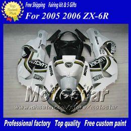 Fairings body kit for Kawasaki Ninja ZX-6R 2005 2006 ZX6R 05 06 ZX 6R white black Lucky Strike custom racing fairing kit ac28