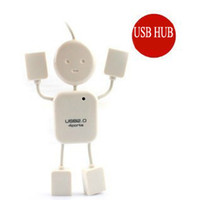 Wholesale FREE DHL Cheap Portable port Mini Small White Man Human shape USB HUB extension High Speed Cable In Stock