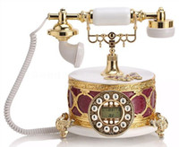 Wholesale Resin antique style telephone old fashioned phone with caller id bling home decor office phone corded telephones