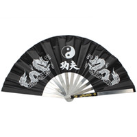 Wholesale New Chinese Dragon Stainless Steel Frame Tai Chi Martial Arts Kung Fu Fan Black
