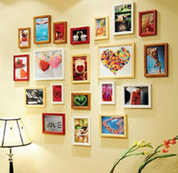 Frame   20PCS Solid Wood Frame Picture Frame Wall Heart Photo Frame Wall Creative Photo Wall Frame Combination Send Template Parts And Level 3001