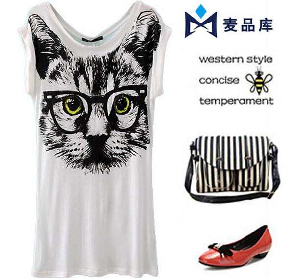 Lady Clothing cat head leopard T-shirt women loose batwing sleeve short sleeve T