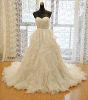 Wholesale 2016 New Strapless Sweetheart neckline Luxury Ruffles Organza Wedding Dresses Bridal gowns crystal Beading Ball gown
