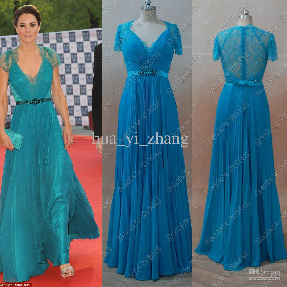 Celebrity Dresses Kate Middleton Blue Green Color Real Actual ...