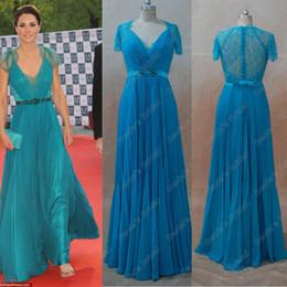 Vestidos de la celebridad Kate Middleton Azul Verde Color de Imágenes reales reales Una línea de cuello V manga Cap Sheer Lace Beaded cinta Kate Vestidos