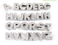 Wholesale 130pcs mm Full Rhinestone Letters English Alphabet A Z DIY Slide letter Charm fit Bracelet wristband