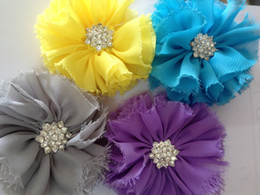 NEW Color Shabby Chiffon Flower Vintage Flowers with Sparking Button Folded Flower Photography Props 40PCS lot QueenBaby