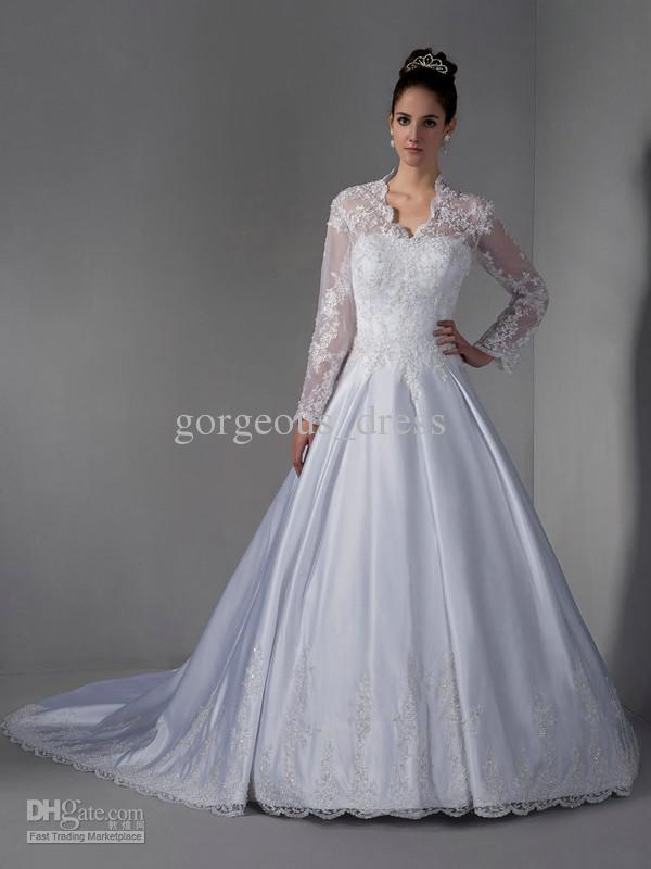 Discount Bridal Dress With Lace Jacket Long Sleeves Closed Back ...