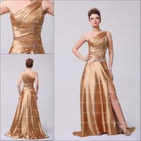 Cheap Model Pictures elegant prom dress Best One-Shoulder Satin evening dress