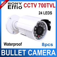Wholesale 8pcs waterproof CCTV Bullet camera SONY CCD Effio TVL mm lens Night Vision surveillance camera