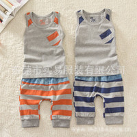stripe pants - Fashion Boys Stripe Outfits Sleeveless Little Giraffe Pocket Tank Tops Middle Length Stripy Pants Set Casual Street Style Color