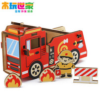 other   Good child wooden toys puzzle futhermore fire truck building blocks